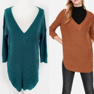 Express Emerald Ribbed Knit V-neck Tunic Sweater S